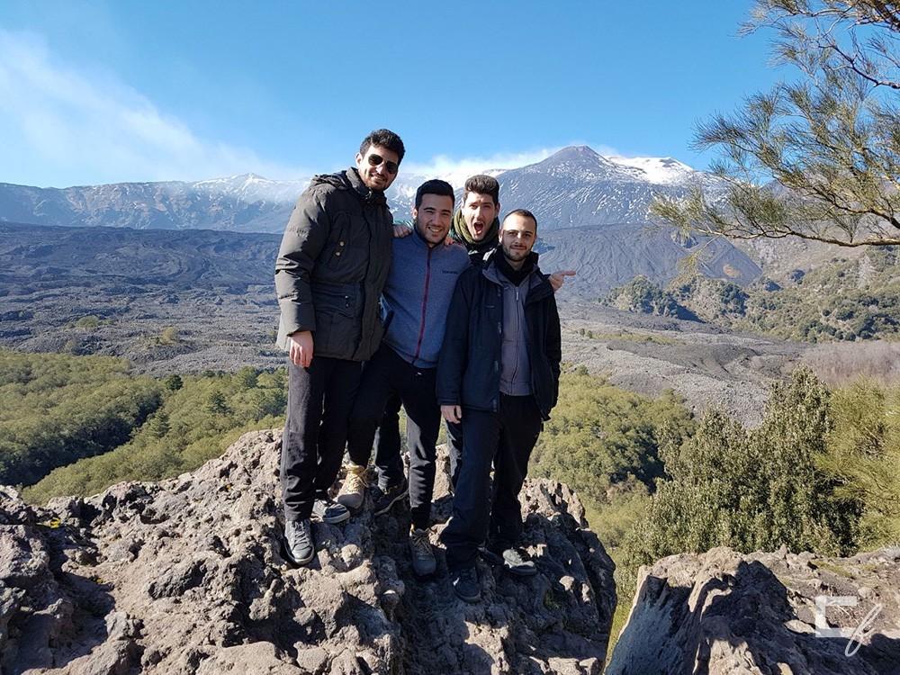 Noi (Marco, Andrea, Vincenzo e Alessio) sul vulcano Etna!