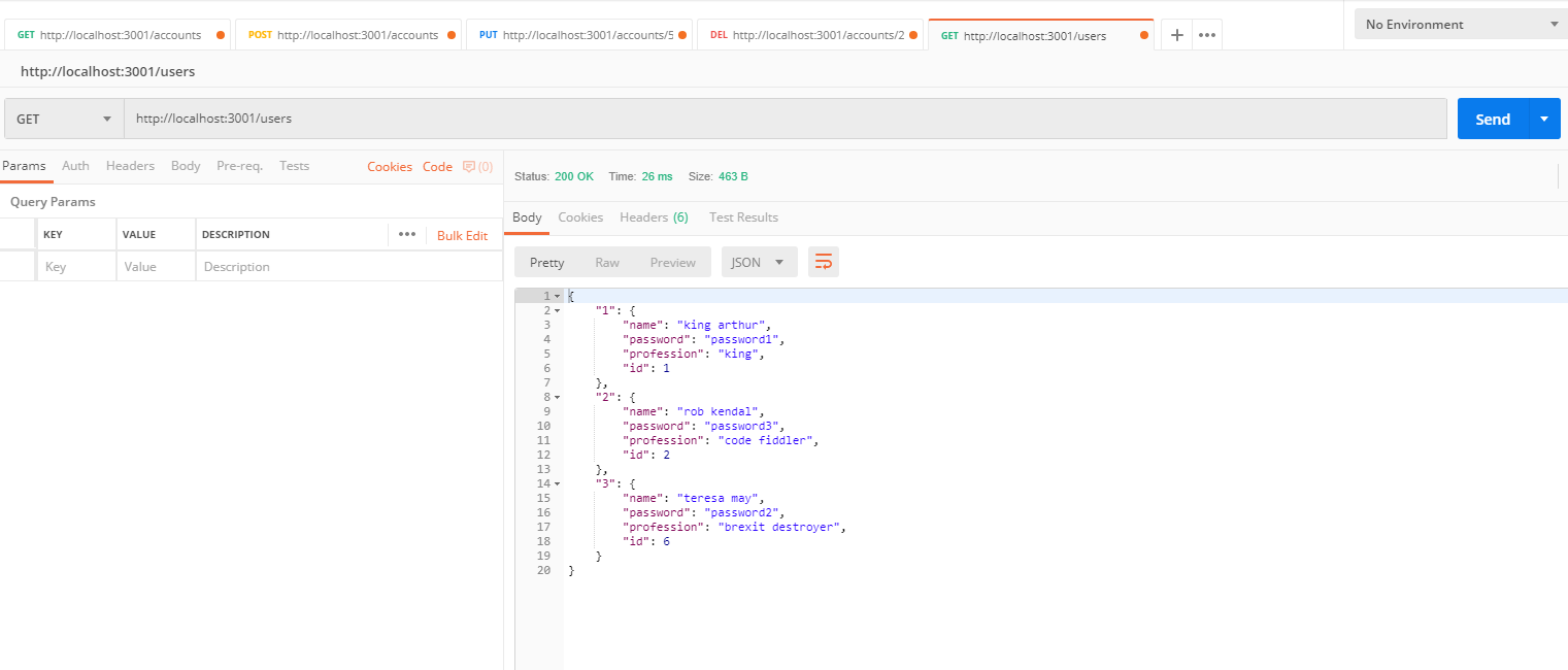 results of user list using Postman app
