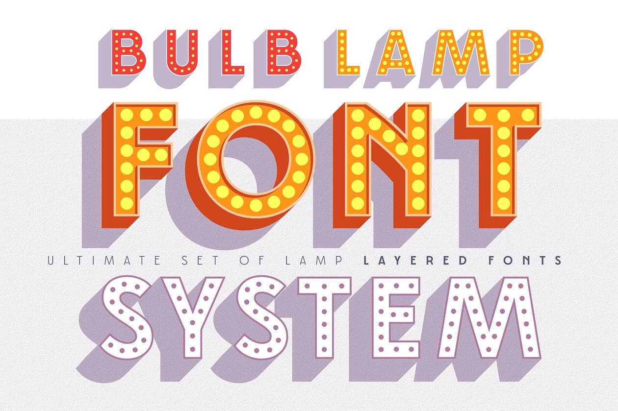 Layered 3D Bulblamp font set