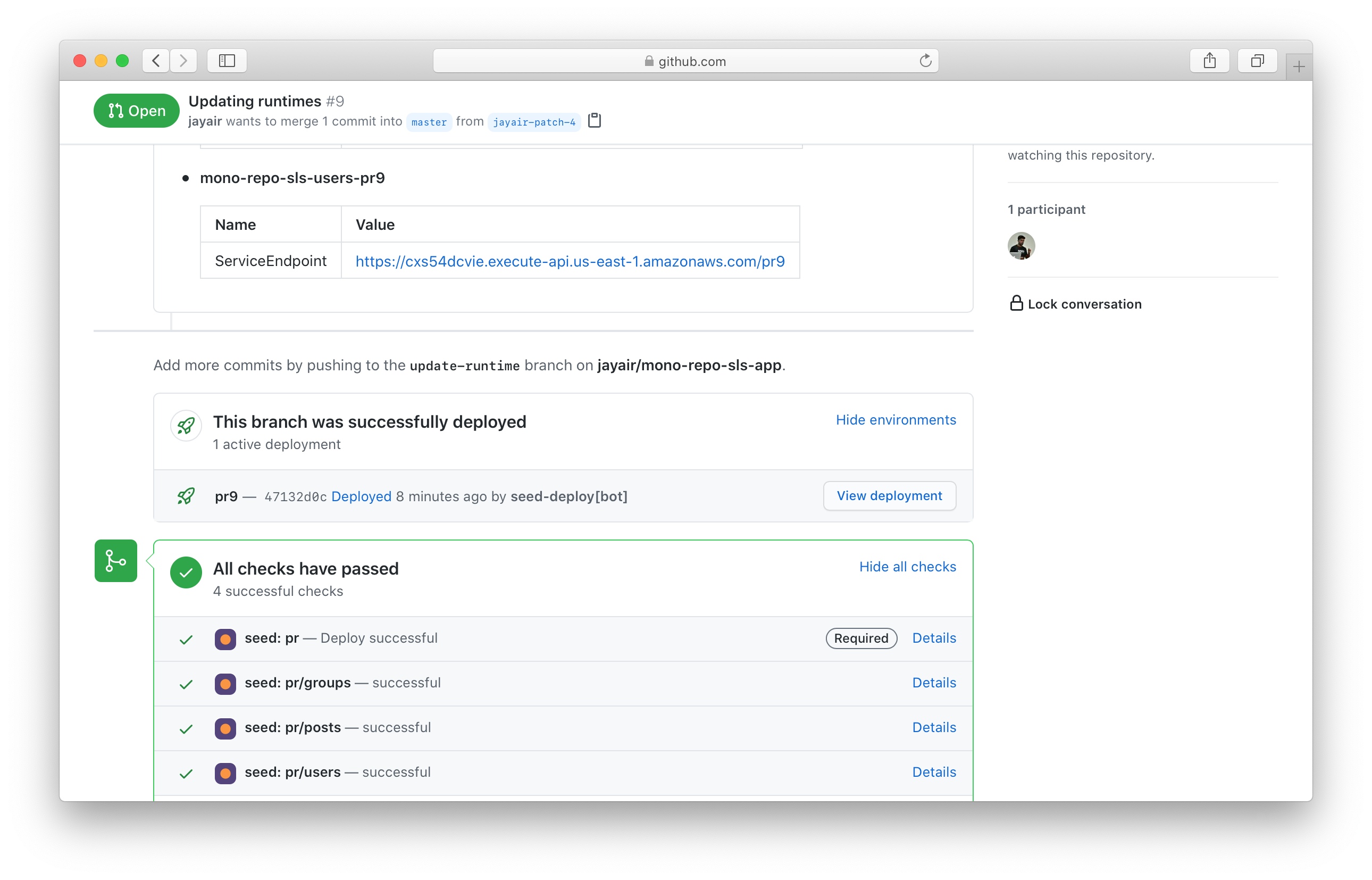 Seed PR deployment environments in GitHub