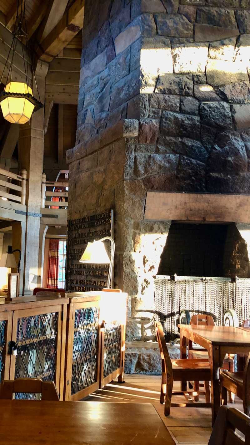 The main room of Timberline Lodge