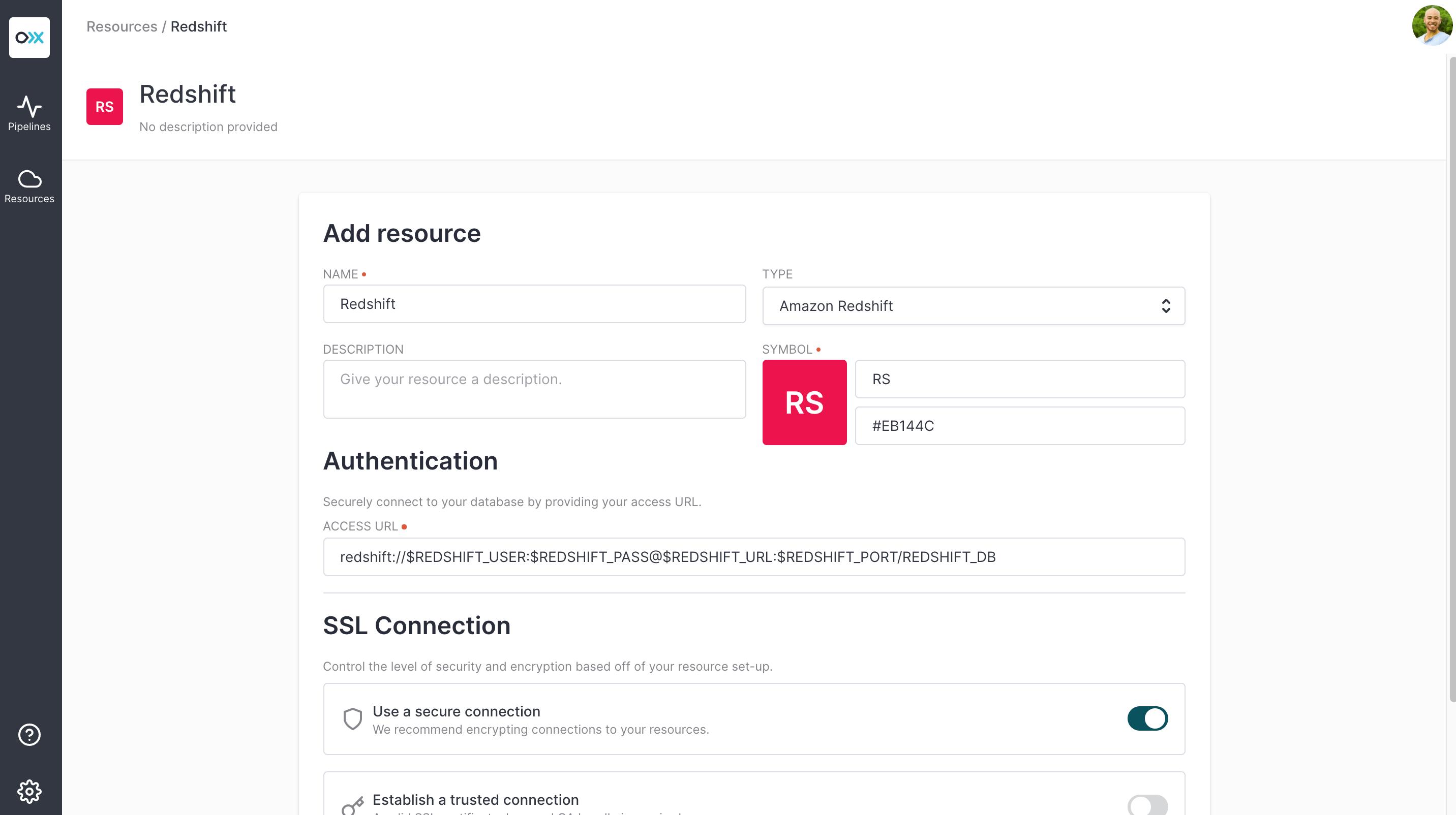 Add Redshift Resource to Meroxa Catalog