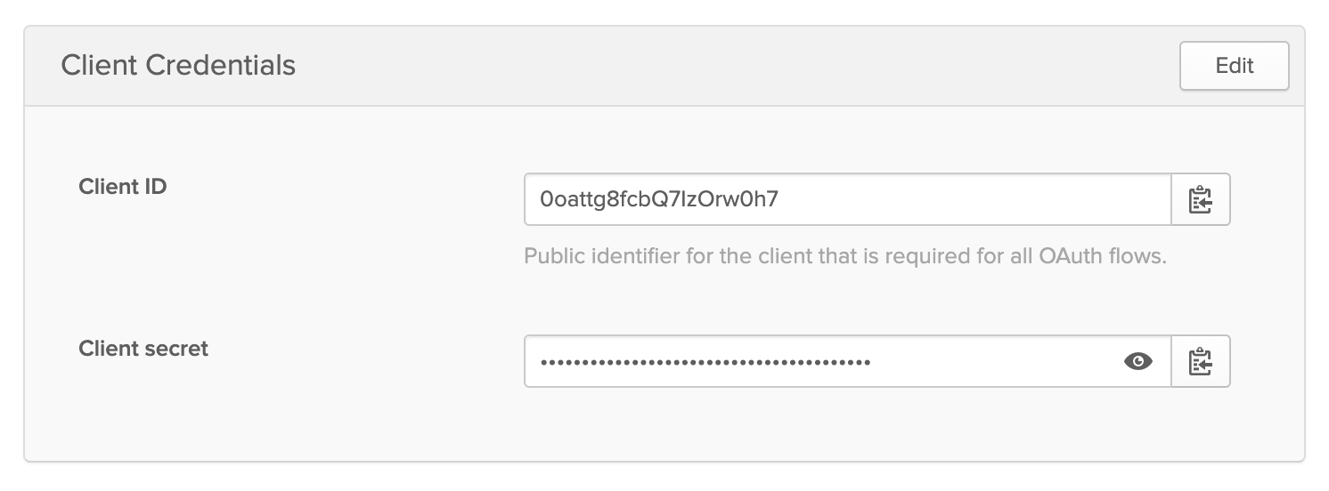 Retrieving your client credentials in Okta