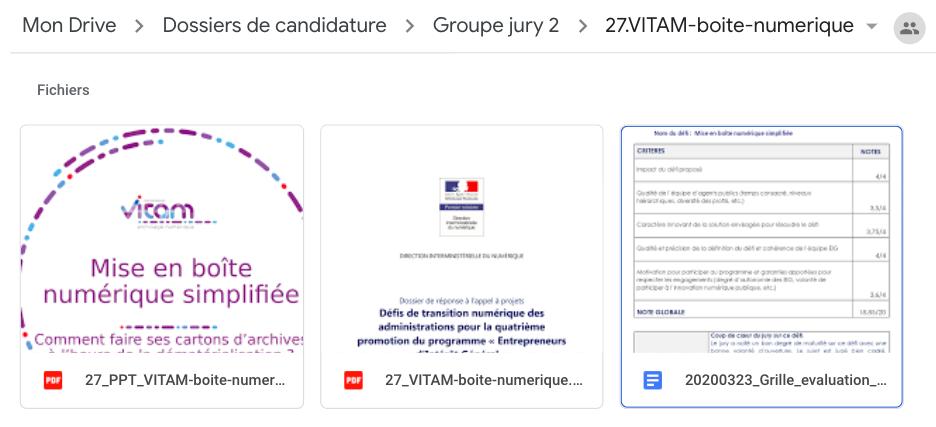 """Capture d'écran d'un """"kit défi"""" à disposition du jury"""