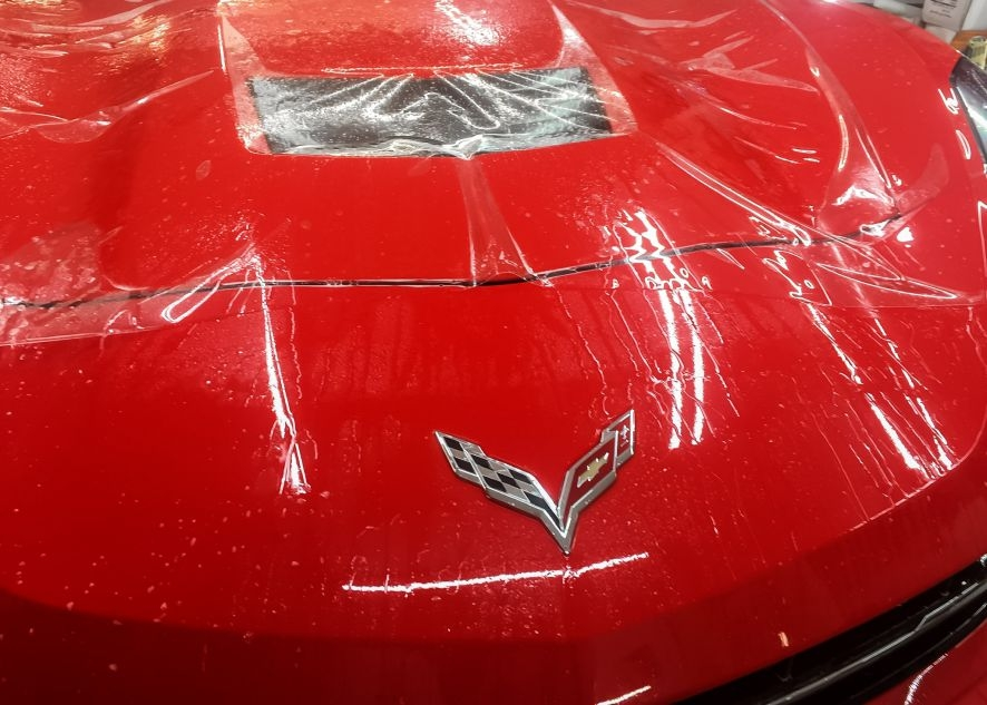 Chevrolet Corvette car having paint protection film applied