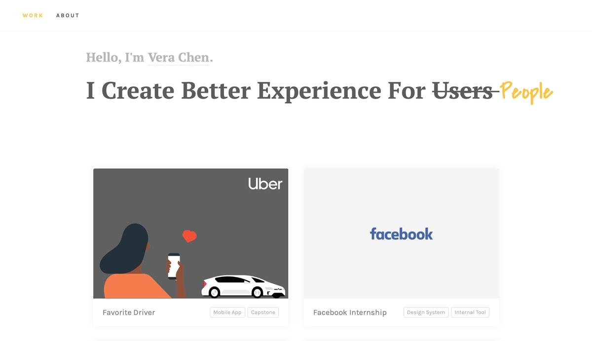 The homepage of Vera Chen's UX design portfolio