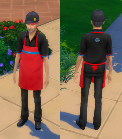 Front and back of the masculine uniform. The uniform is black polo and trousers with a bright red apron. There is a hat that has the Greggs yellow squares logo.