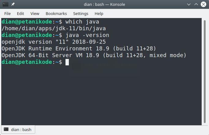 Versi Java yang digunakan