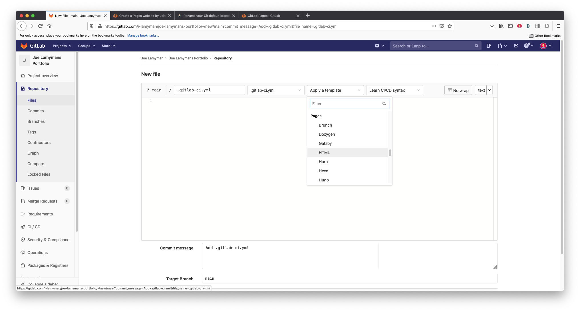 A screenshot of the Gitlab's 'New file' screen. The screen contains a series of dropdowns along the top for changing the branch, file type as well as providing the user an option to Apply a template. In this screenshot, I am on the main branch, the file is named .gitlab-ci.yml. This name was automatically generated. I have selected the 'Apply as template' button and am hovering over the option 'HTML' under the Pages subheading in the resulting dropwdown.