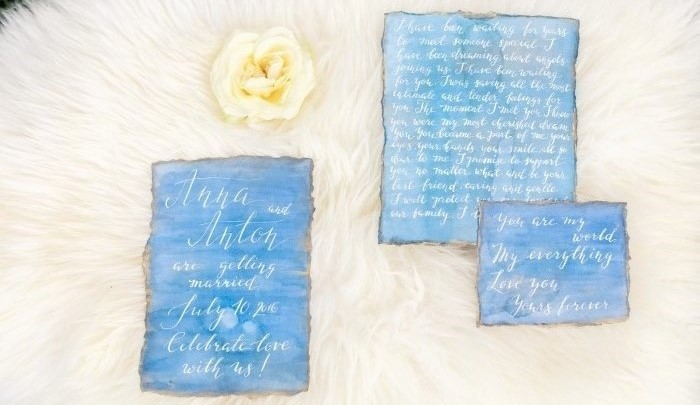 watercolor and calligraphy hand made wedding set item thumbnail