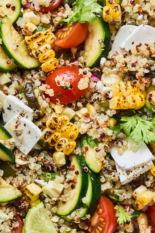 Charred Corn Tomato and Feta Quinoa Salad