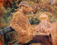 'Eugene Manet with his daughter at Bougival' by Berthe Morisot (c1881)