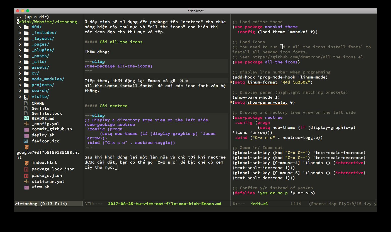 Hình ảnh neotree Emacs