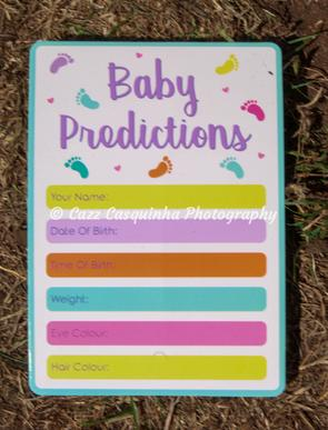 Baby Shower Baby Prediction Card