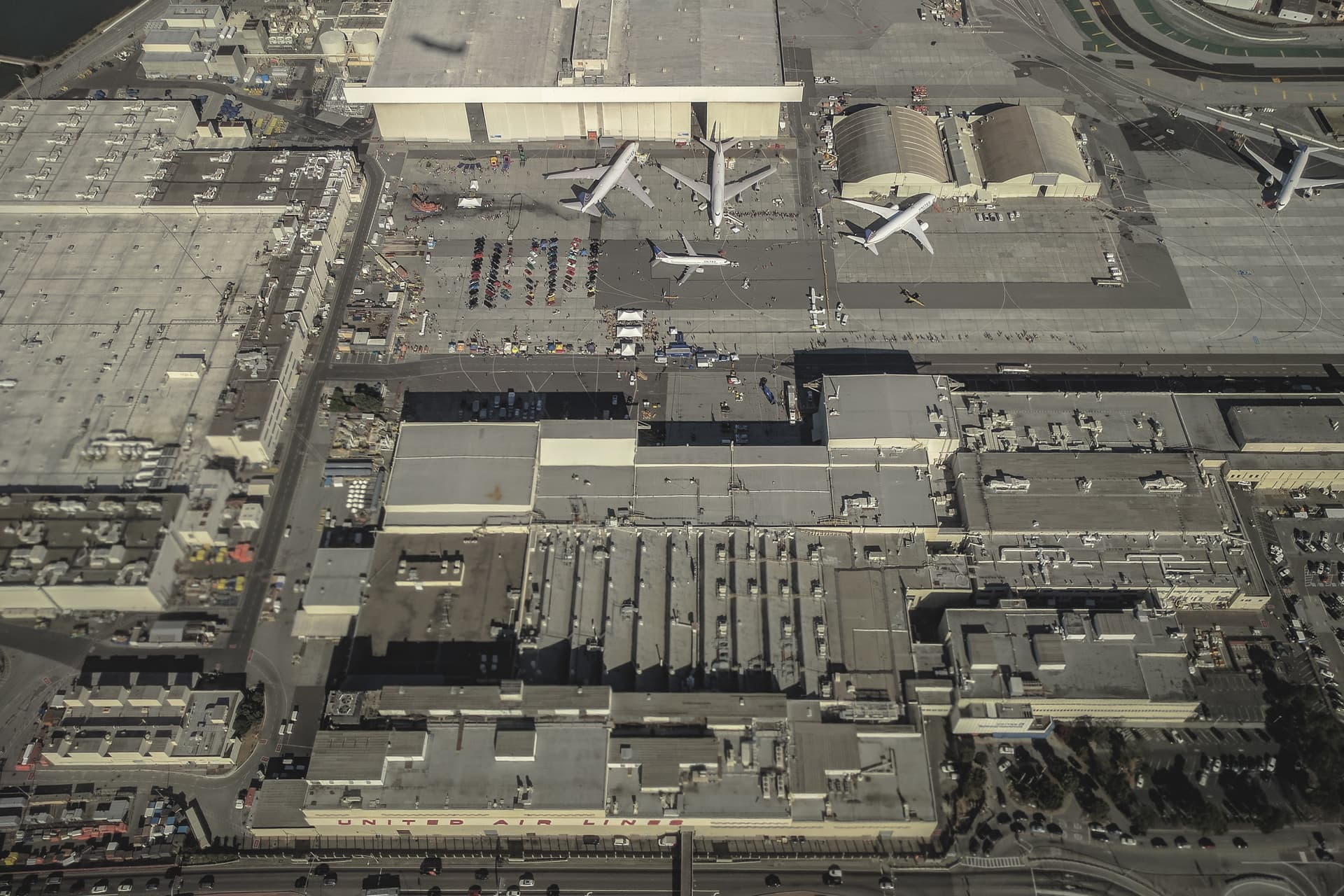 Maintenance hangers and planes at San Francisco International Airport as seen from the air.