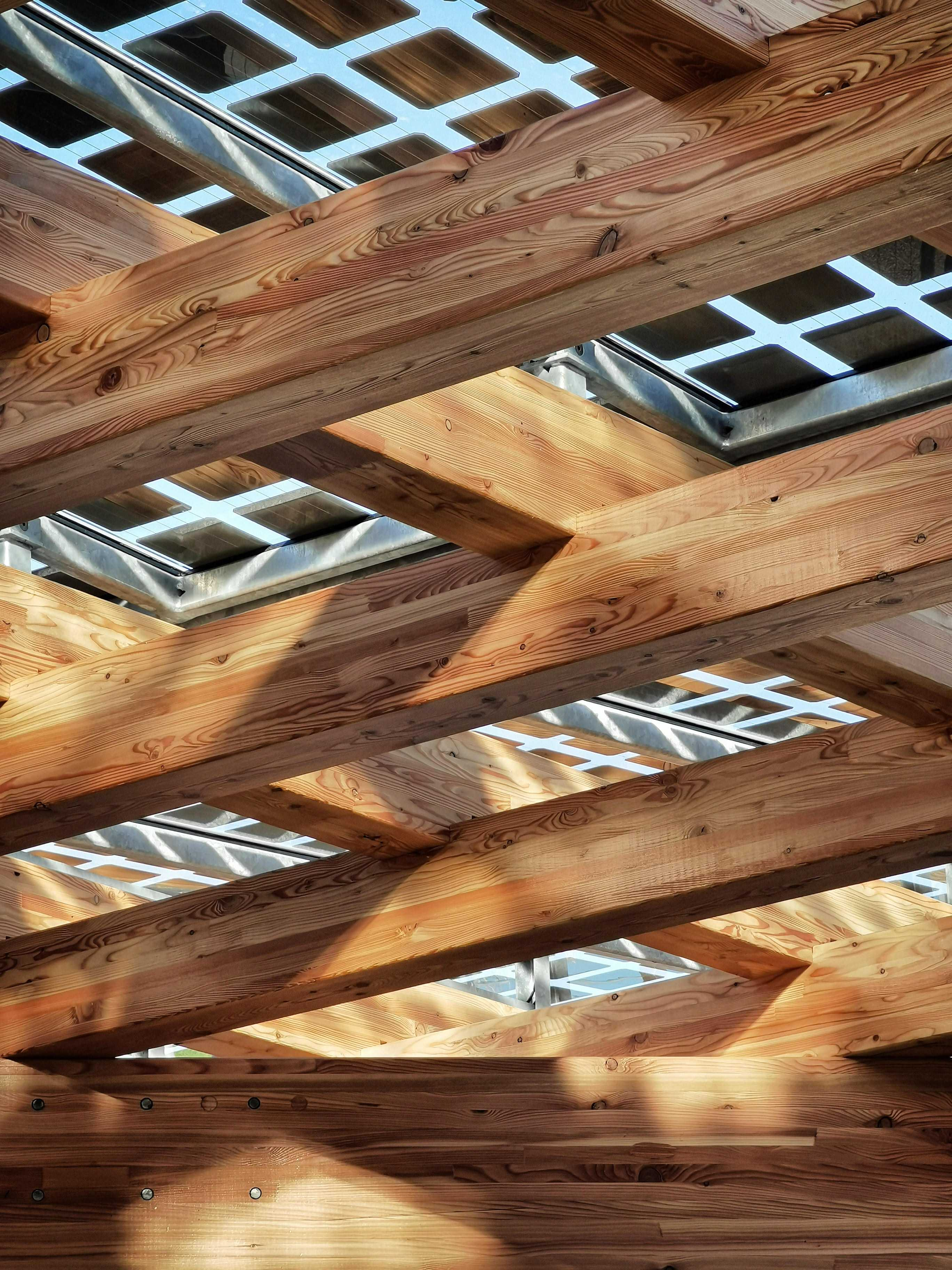 Shadows and light shining through photovoltaic panels onto the K:Port timber lattice structure.