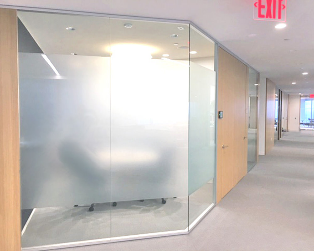 Glass Walls with Frosted Stripe Across