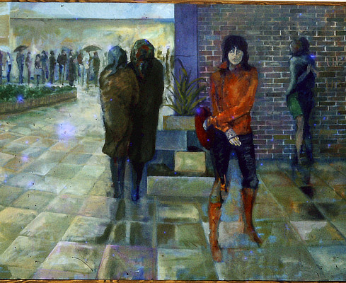 painting of people queuing in drab oppressive paved public space