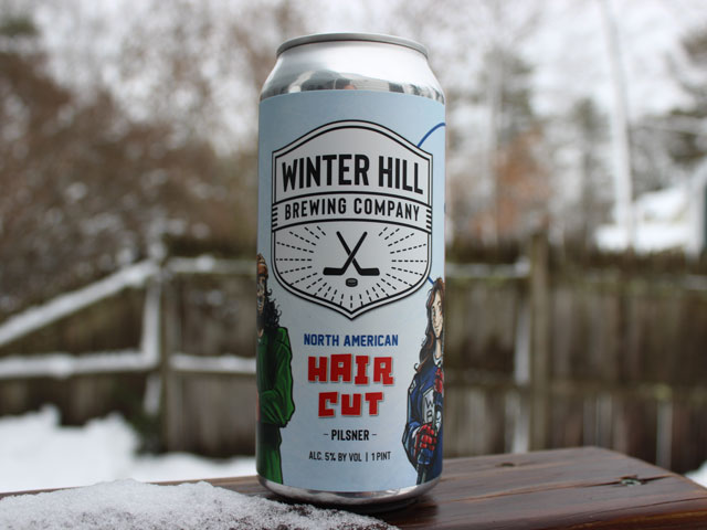 North American Haircut, a Pilsner brewed by Winter Hill Brewing Company
