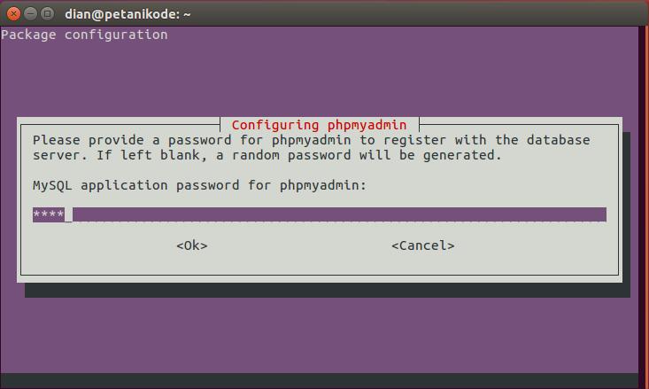 Make a phpmyadmin password