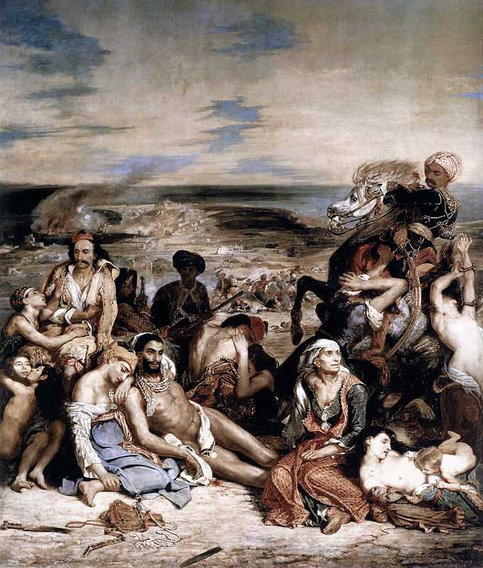 Massacre at Chios, by Eugene Delacroix in 1824, Louvre, Paris