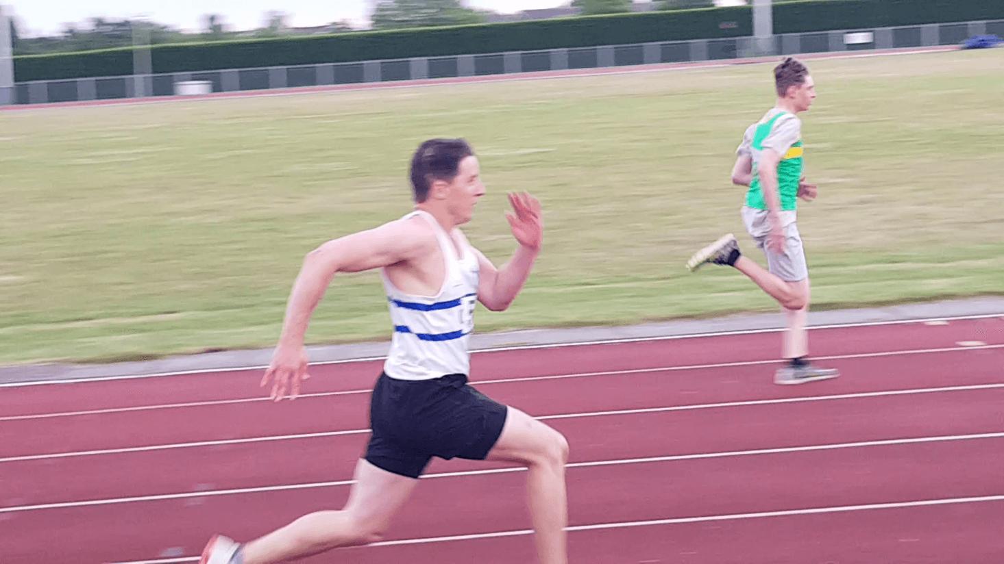 Luke sprinting towards the finish line.