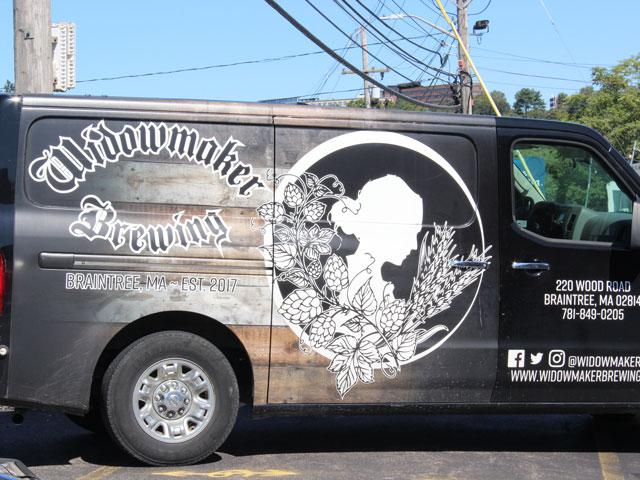 A Widowmaker Brewing branded van to deliver craft beer around Massachusetts