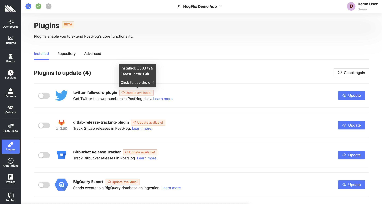 Plugins update screenshot