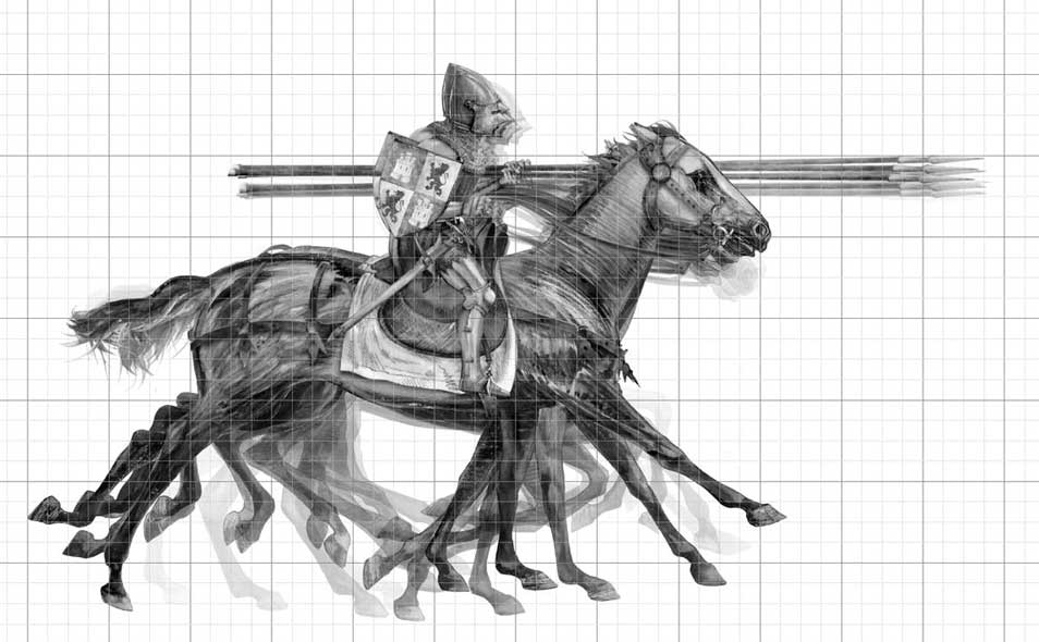 Praxinoscope illustration - Castilian knight in armour charging on horse - motion study.