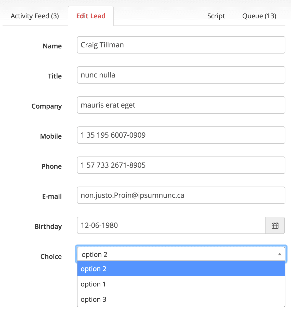 New field types: Date select and options select when editing a Lead