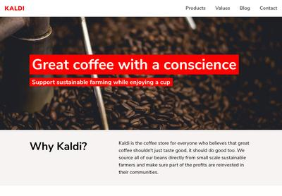 Screenshot of a page created with Hugo starter small business theme - Kaldi