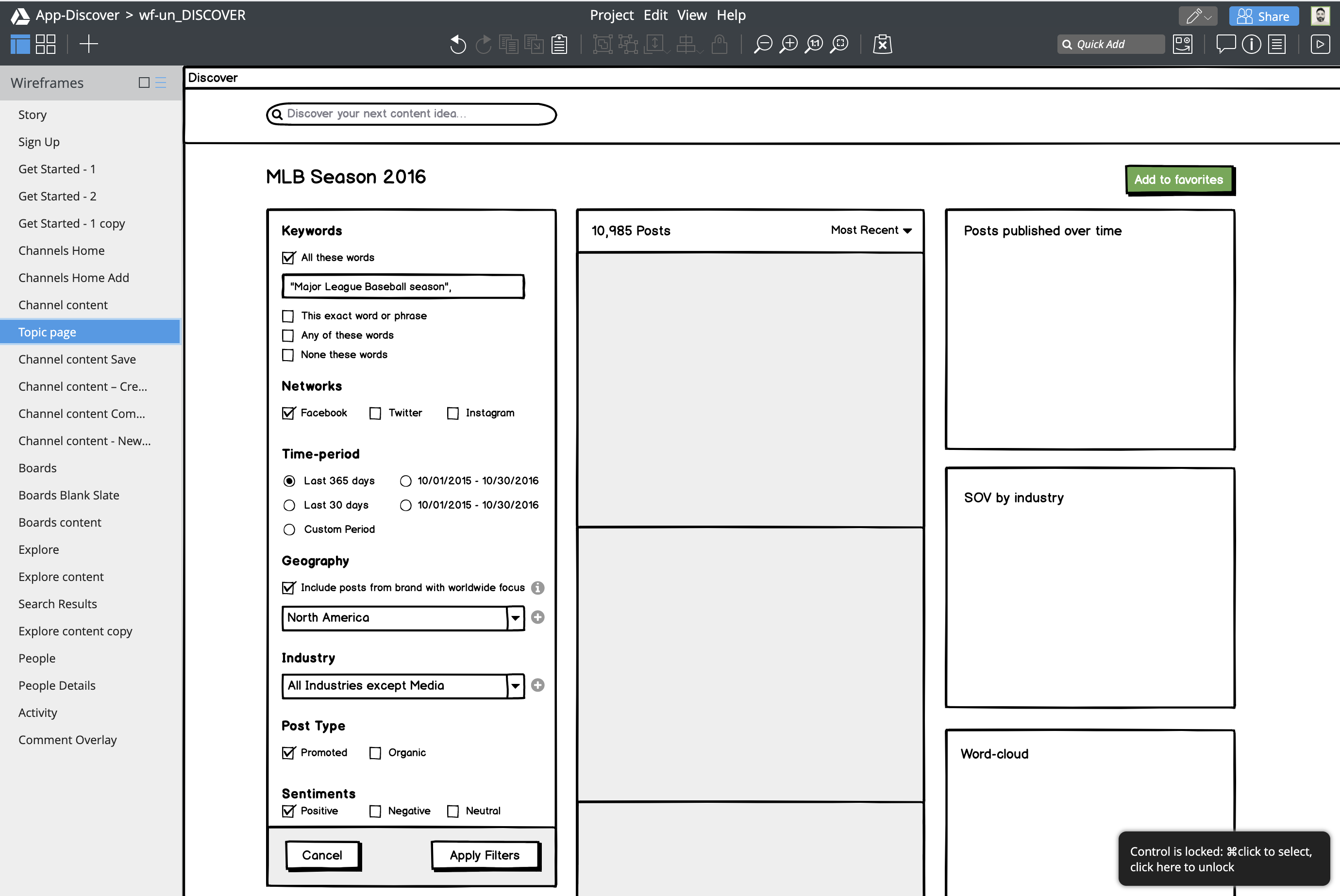 Discover Explore wireframe