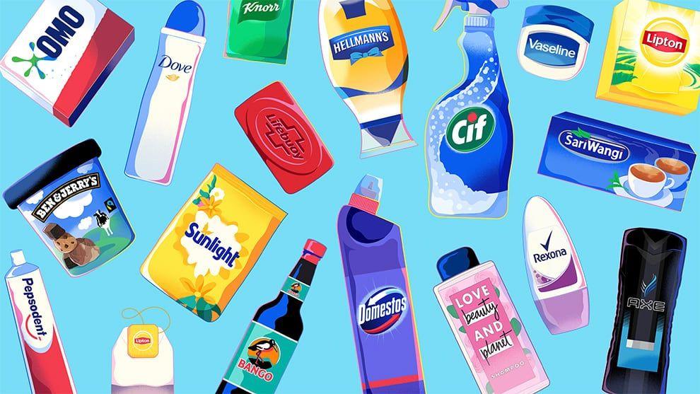 Various unilever brand packshots