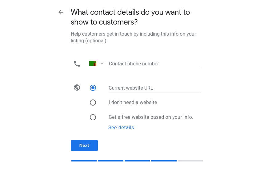 Business to Google My Business Contact Details