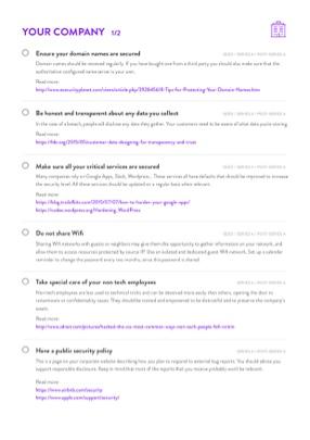 SaaS CTO Security Checklist page 1