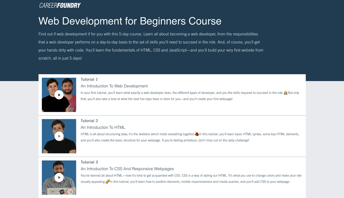 Web development for beginners course from CareerFoundry