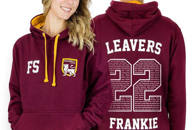 leavers hoodie with a school logo and 21 printed on the back