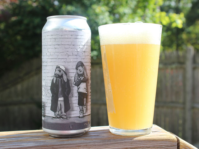 A 16oz can of Downtown Rabbits poured into a pint glass