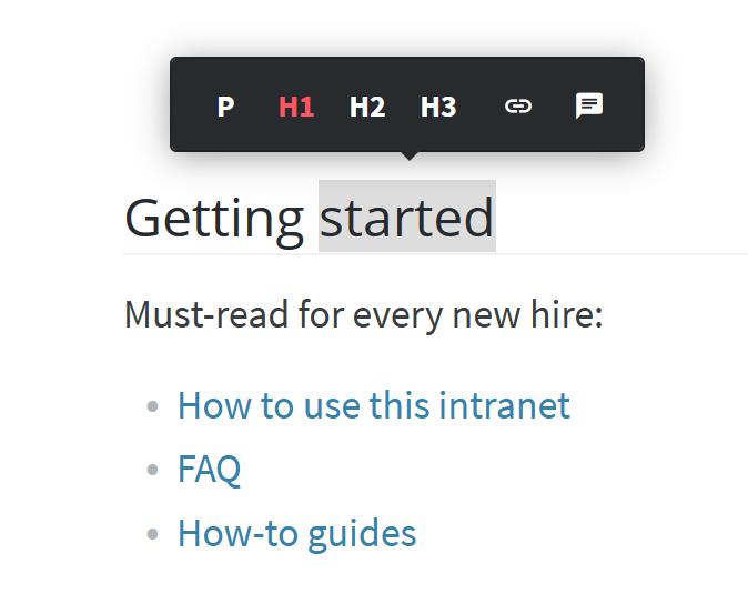 Company intranet portal content editor