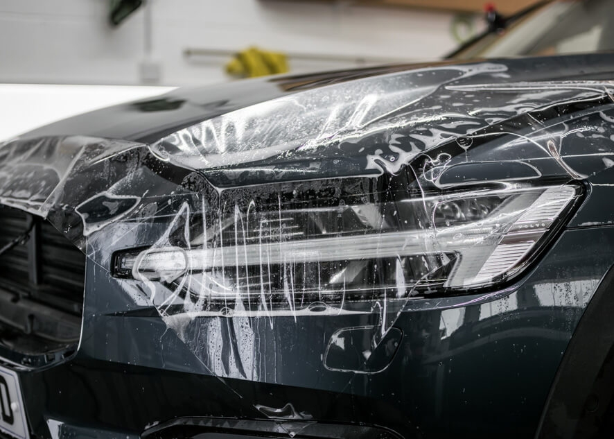 Headlights covered with paint protection film