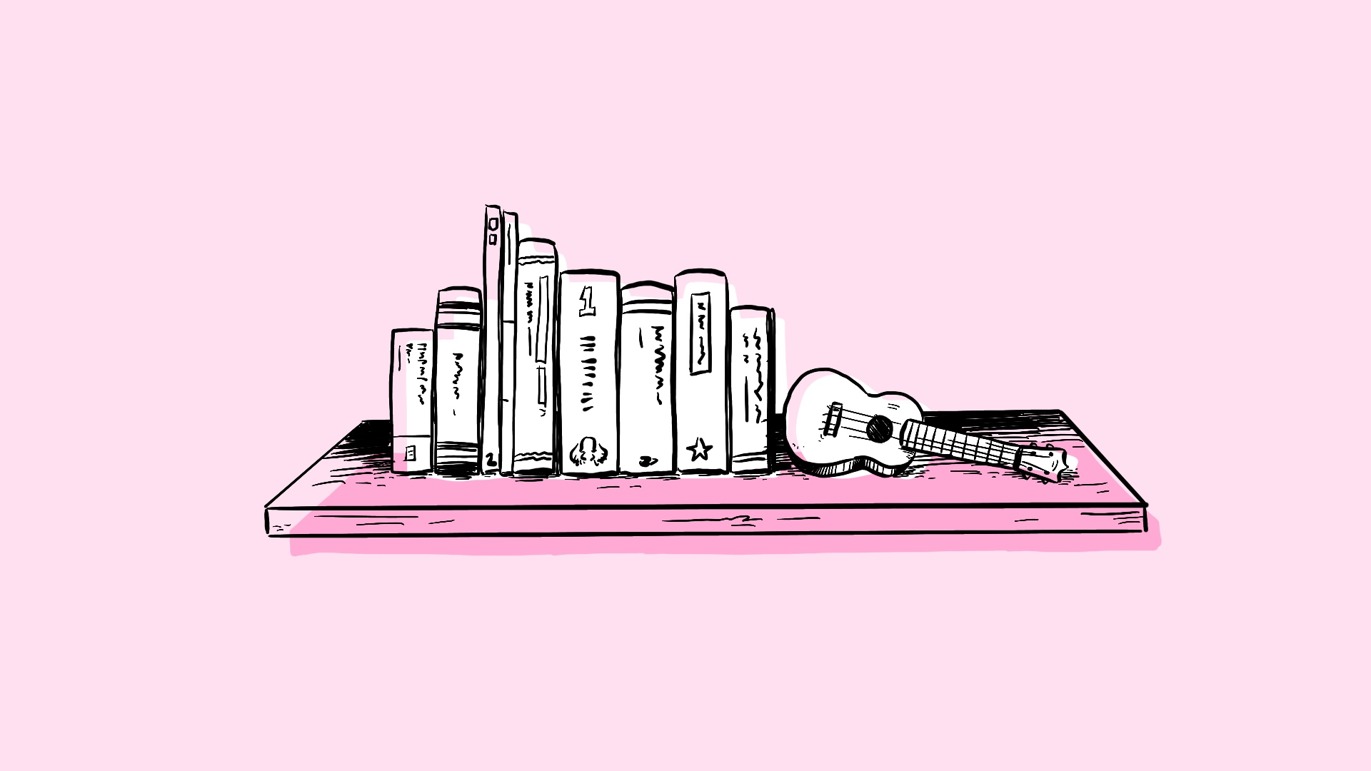 the bookshelf with a ukulele