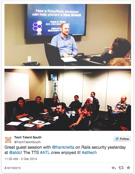TechTalentSouth tweet about the Data Breaches class on December 4, 2014