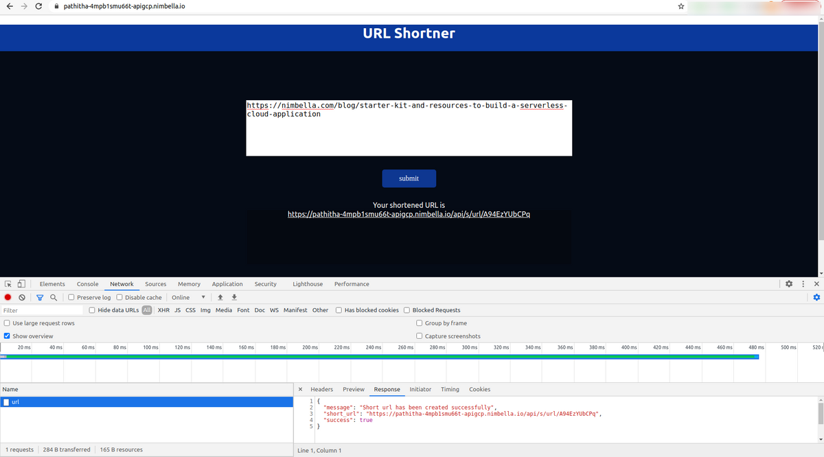 Try App through UI by visiting the host URL