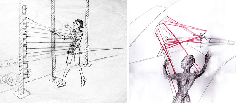 "Mainstone's concept drawings, depicting figures wearing the device and ""playing"" at a web of bridge-and-device strings."