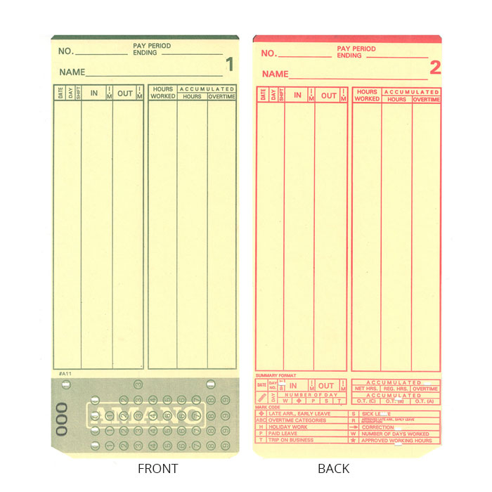 MJR 7000 Time Cards - Pack of 1000