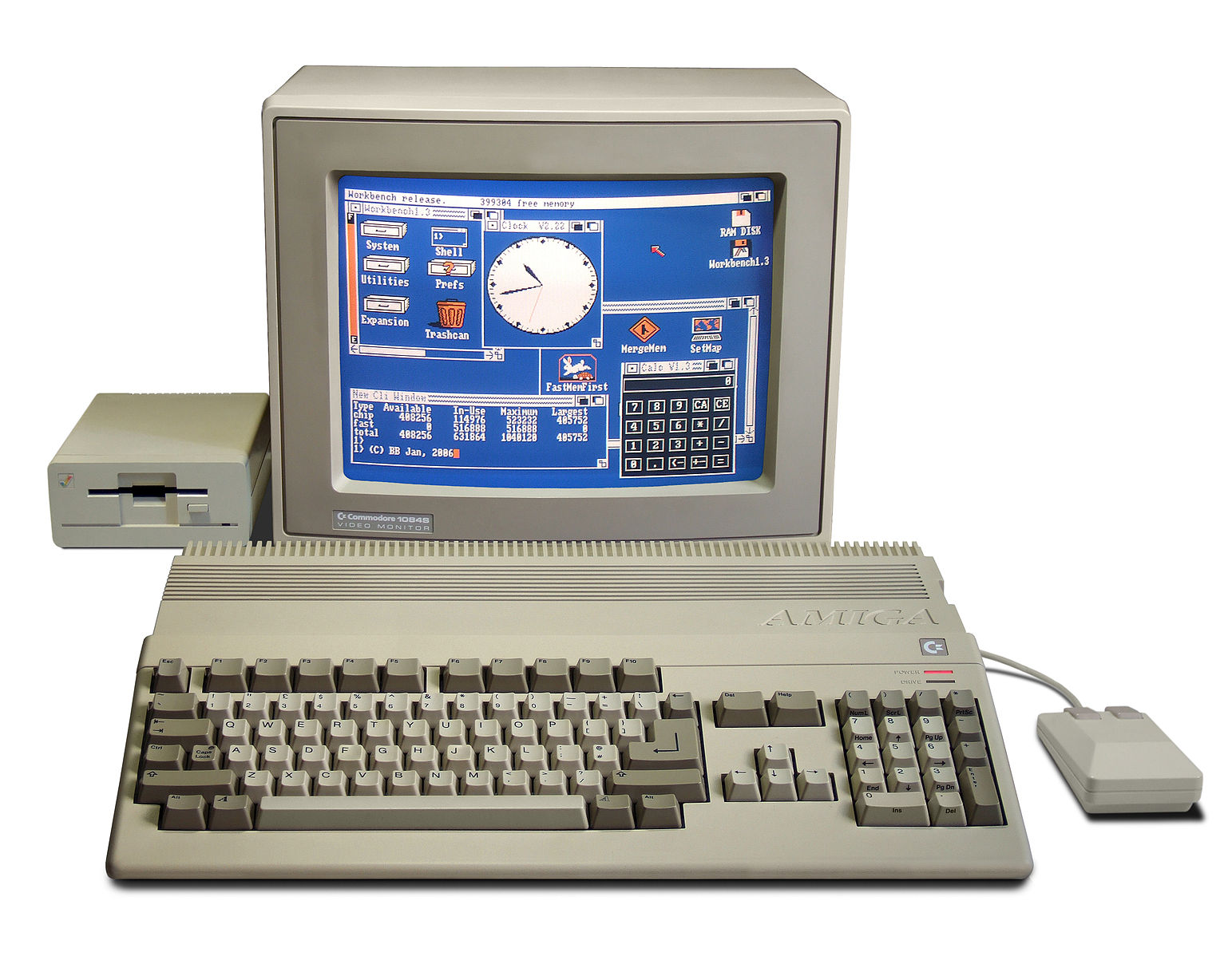 The Amiga 500 personal computer system, pictured with a monitor, a mouse, a keyboard, and a floppy disk drive.