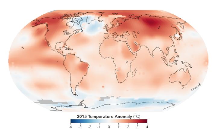 Écarts des températures avec la normale en 2015
