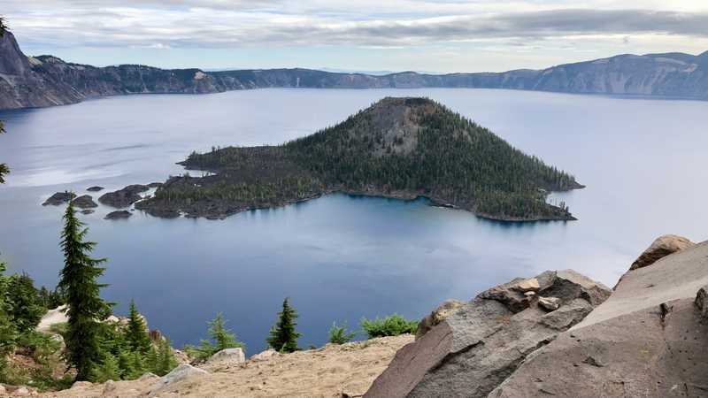 A view of Crater Lake from a rock