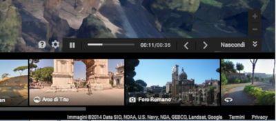 Carosello delle immagini di Google Maps con il dettaglio dei comandi del tour 3D