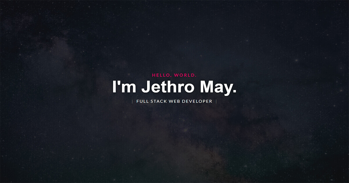 Image of Jethro May's website
